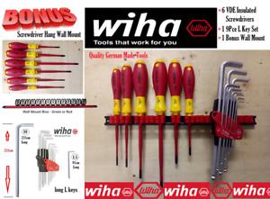 Wiha Tools 6 Slim Insulated Screwdriver set with L Key Set Plus Bonus Wall Mount
