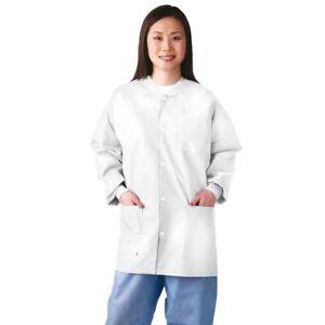 Medline Disposable Medical Dental Lab Coats Jackets - WHITE - Medium - Box of 30
