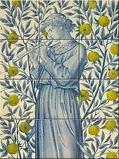 """Ceramic tile mural Art Nouveau 6 X 6"""" Each Tile William Morris Reproduction #002"""