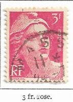 Timbre France Marianne de Gandon 1945-47  Typographiés - N° 716 - 3 fr rose