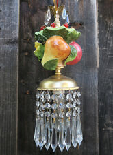 1 Porcelain Capodimonte Fruit Brass tole chandelier Swag plugin vintage lamp