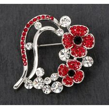 Flower Heart Brooch 69148 Equilibrium Silver Plated Poppy