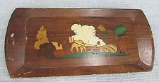 Farm horses walking plow old HASKO Haskelite press board serving tray FREE S/H
