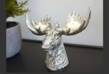 Candle Stag Deer Head Sculpture Wall/Floor Standing Statue Antique Silver Style