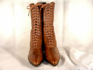 NOS VINTAGE EDWARDIAN ERA AMBER BROWN LEATHER LACE UP BOOTS