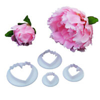 4Pcs New Peony Flower Petal Cake Fondant Decorating Mold Cutter Sugar Paste Tool