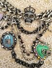 """Necklace BETSEY JOHNSON charms,SKULL CHAINS etc...  18"""" Blings"""