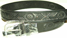 NEW BLACK LEATHER BELT W/BUCKLE EMBOSSED 34 X 1 1/2  FREE S/H