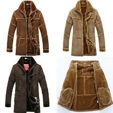 Winter Men's Lapel Jacket Fur Leather Warm Lining Long Trench Loose Coat New Hot