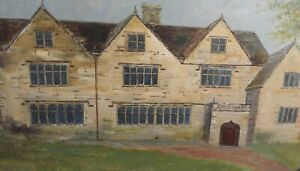 ANTIQUE OIL PAINTING OF BAILDON HALL, YORKSHIRE - SIGNED & FRAMED