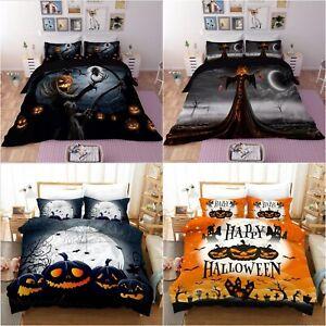 3D Halloween Bedding Set Single Double King Pumpkin Witch Duvet Cover Pillowcase
