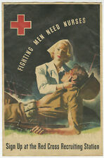 1940's Fighting Men Need Nurses Vintage Advertising Poster 11x17 WWII Red Cross
