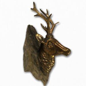 Bronze Deer Stag Elk Bust Head w Rock Mount Cabin Wildlife Art Faux Taxidermy