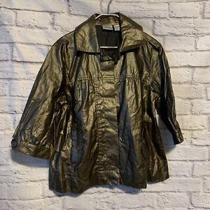 Chicos 2 Large Coated Linen Bronze Jacket 4697