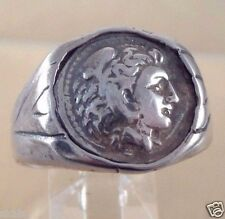 Greek Alexander  the Great Coin Sterling Silver  925 Men's  Ring skaisJN17