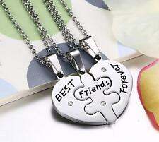 Set of Best Friend Forever Friendship Stainless Steel Heart Necklace Pendant New