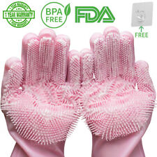 Magic Silicone Dishwashing Scrubber Dish Washing Sponge Rubber Scrub Gloves