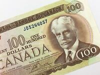 1975 Canada 100 Dollar Hundred Dollar Circulated JD Lawson Bouey Banknote R213