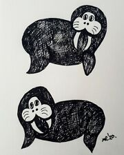 DAILY SKETCH:Original Ink Drawing 'Walruses' by Michelle Ranson