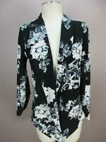 MERAKI SIZE L WOMENS BLACK FLORAL ONE BUTTON LONG SLEEVE CARDIGAN BLAZER TOP 800