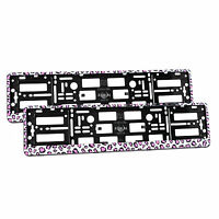 2x Universal Number Plate Holders Surrounds Frames Any Car - Pink Panther Effect