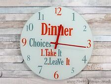 Dinner choices glass wall clock
