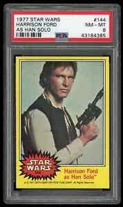 1977 Topps Star Wars HARRISON FORD as HAN SOLO Card #144 ** PSA 8 NM - MT **