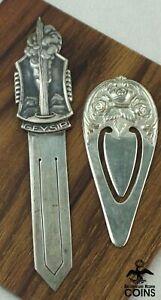 Lot of 2: Vintage Bookmarks, Sterling Silver Rose Bouquet & Silver (830) Geyser