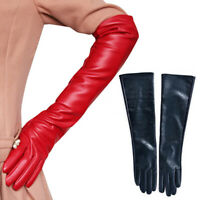 Women PU Leather Ladies Long Sleeve Elbow Driving Gloves Women Girls Mittens hot