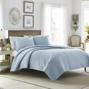 * NEW * Laura Ashley Felicity Quilt Set (Blue, Full/Queen) (Kayleigh & Co.)