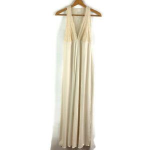 Soft Surroundings Womens Ivory Nightgown Sleeveless Back See-Through V-Neck XLP