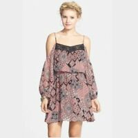 Dee Elle Urban Outfitters Dress Size S M Cold Shoulder Pink Black Chiffon NEW