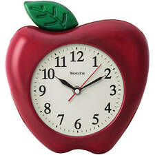"Westclox 10"" Red Apple Quartz Wall Clock Battery Operated Perfect Teacher Gift"