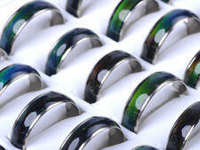 50pcs Lots Change Color Silver Plated Mood Rings Wholesale Bulk Fashion Jewelery