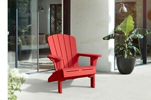 Adirondack Chair Resin Outdoor Furniture RED Weatherproof Patio Pool Side Garden