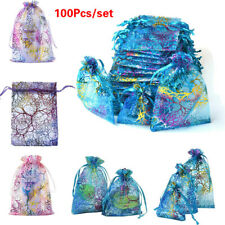 100Pcs Sheer Organza Wedding Party Favor Gift Candy Bags Jewelry Pouches Lots