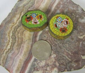 2 antique micro mosaic pill boxes made in Italy .99 no reserve
