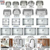 Stainless Steel Under Mount Single Bowl Kitchen Sink / Faucets Various Sizes
