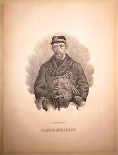 1862 COLONNELLO ANGELO BASSINI litografia Terzaghi Pavia spedizione dei mille