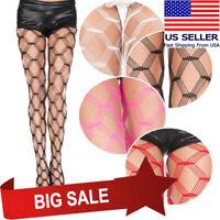 1-4PC Sheer Fishnet Large Striped Diamond Netting Pantyhose Ravewear Club Tights