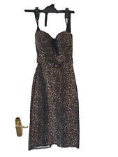 Stop Staring Leopard Print Halter Wiggle Dress S