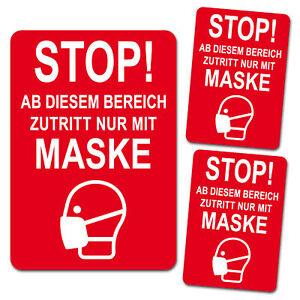 3er Set Zutritt Maske Rot Halten Aufkleber Folie Corona Mund Nasen Schutz R110
