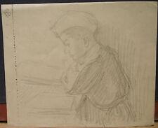 """Dessin Ancien Mine de Plomb  LUCIEN OTT  """"Portrait de Marcel""""  1916 guerre LO4"""