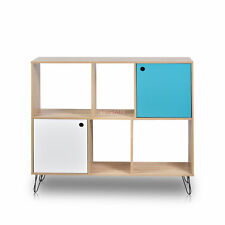Storate Shelves Display Cabinet Bookcase 6 Cubes wall shelf Wood color HQ MDF