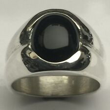 MJG STERLING SILVER MEN'S RING. 12 x 10mm OVAL BLACK ONYX. SIZE 10.