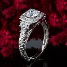 Halo Pave Antique 1.37 Carat Round Cut Diamond Engagement Ring 14K White Gold