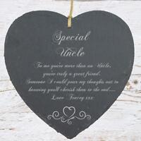 Personalised Uncle Gift Slate Plaque Heart Symbol SLA210-2