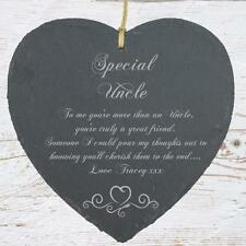 Personalised Uncle Gift Slate Plaque Heart Symbol SLA210-2