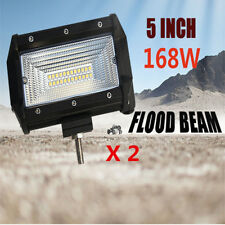 2PCS 5inch 168W Flood LED Work Light Bar Off Road Jeep Boat Fog Driving 12V 24V