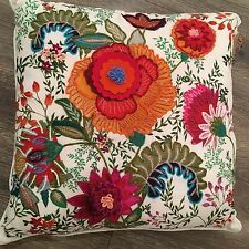 New Anthropologie GORGEOUS Embroidered 20x20 Decorative Pillow
